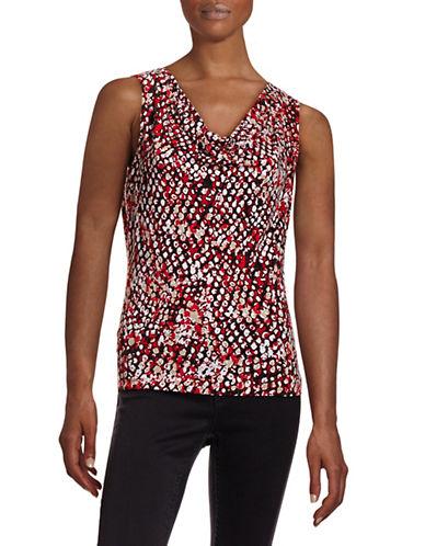 Calvin Klein Blur Print Cowl Neck Tank-RED-X-Large 88403990_RED_X-Large