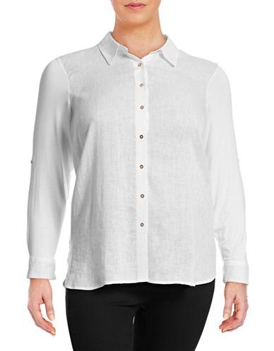 Calvin Klein Plus Linen Knit Combo Tunic-WHITE-3X 88395074_WHITE_3X