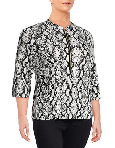 Calvin Klein Plus Print Roll-Sleeve Blouse-WHITE MULTI-2X
