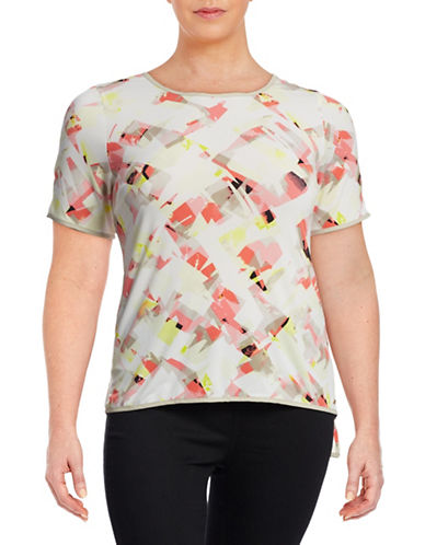 Calvin Klein Plus Short Sleeve Print Top-PINK MULTI-1X