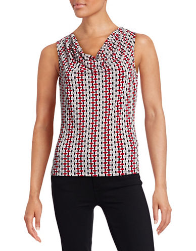 Calvin Klein Printed Cowl Neck Tank-RED-Large 88403984_RED_Large
