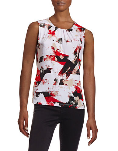 Calvin Klein Printed Pleat Neck Stretch Tank-RED-Large 88403999_RED_Large