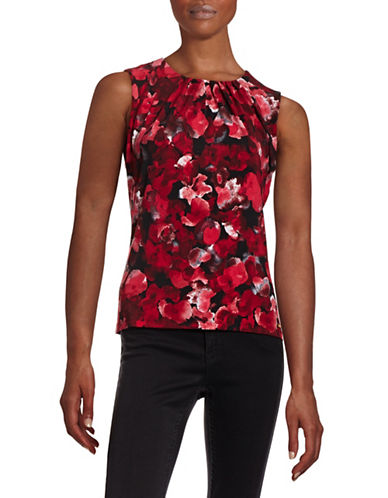 Calvin Klein Printed Pleat Neck Stretch Tank-RED/MULTI-X-Large 88403995_RED/MULTI_X-Large