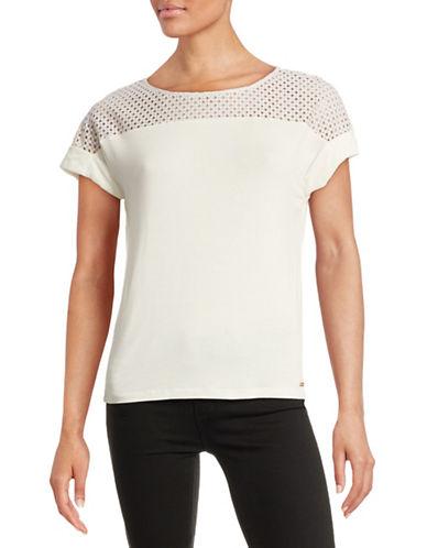 Calvin Klein Shoulder Yoke Eyelet Tee-WHITE-Large 88389870_WHITE_Large