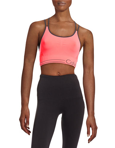 Calvin Klein Performance Contrast Trim Poly Sports Bra-PINK-Medium 88436797_PINK_Medium
