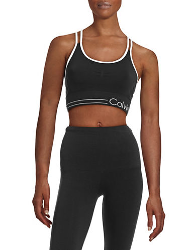 Calvin Klein Performance Logo Double Racer Sports Bra-BLACK-X-Small