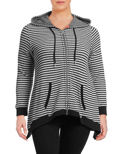 Calvin Klein Performance Plus Striped Zip Cotton Hoodie-GREY-1X 88492375_GREY_1X