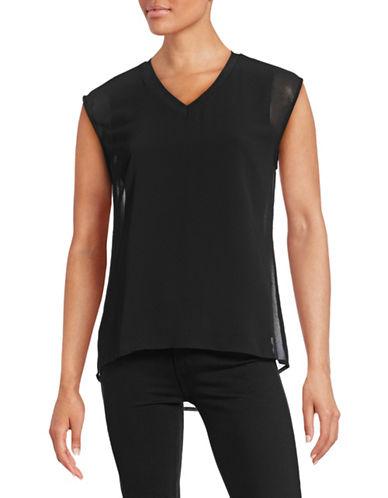 Calvin Klein V-Neck Chiffon Layer Tank-BLACK-Small 88451869_BLACK_Small