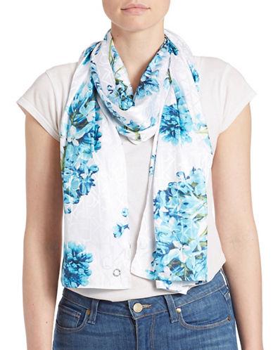 Calvin Klein Floral Monogram Satin Scarf-BLUE-One Size