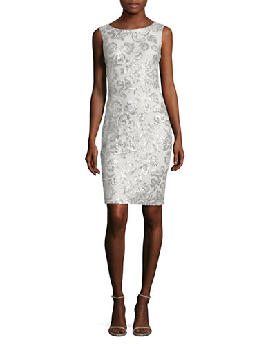 Calvin Klein Sequin Lace Sheath Dress-SILVER-14