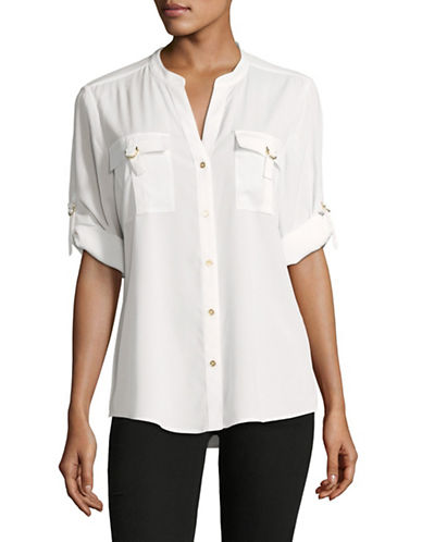 Calvin Klein D-Ring Blouse-WHITE-Medium