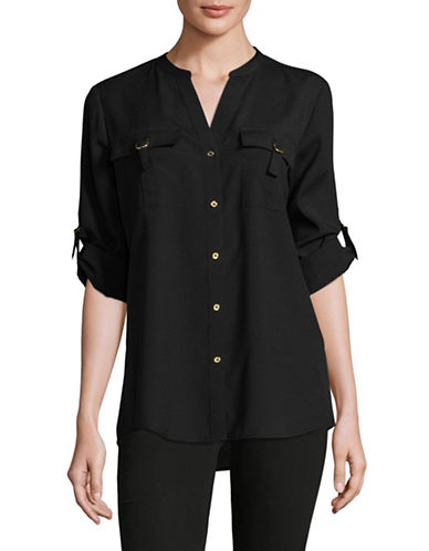 Calvin Klein D-Ring Blouse-BLACK-Small