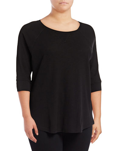 Calvin Klein Performance Plus Knit Raglan-Sleeve Top-BLACK-1X 89299845_BLACK_1X
