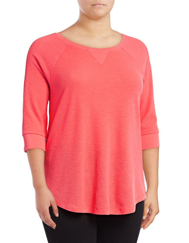 Calvin Klein Performance Plus Knit Raglan-Sleeve Top-LAVA-1X