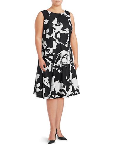 Calvin Klein Plus Paintstroke-Print Scuba Flare Dress-BLACK/WHITE-20W