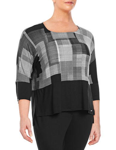 Calvin Klein Plus Printed Dolman Sleeve Top-BLACK MULTI-1X
