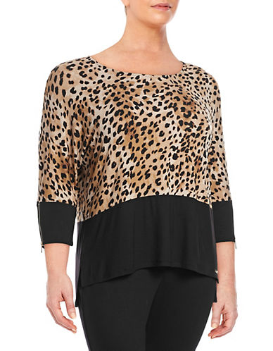 Calvin Klein Plus Printed Dolman Sleeve Top-NETURAL MULTI-2X
