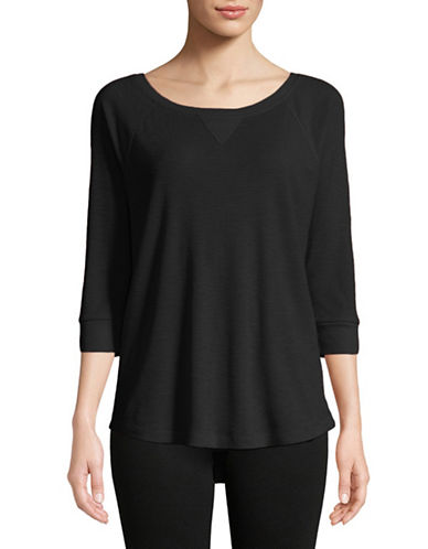 Calvin Klein Performance Waffle Knit Raglan Sleeve Top-BLACK-Large 89751809_BLACK_Large