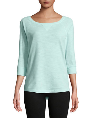 Calvin Klein Performance Waffle Knit Raglan Sleeve Top-BLUE-Large