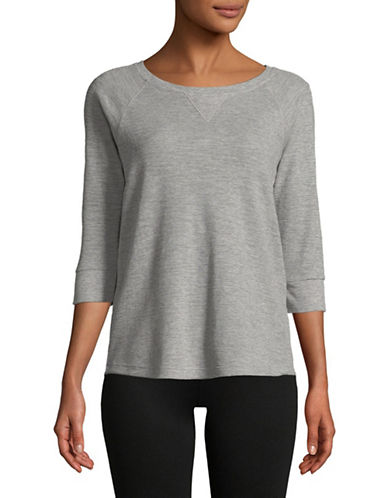 Calvin Klein Performance Waffle Knit Raglan Sleeve Top-GREY-Small 89751811_GREY_Small