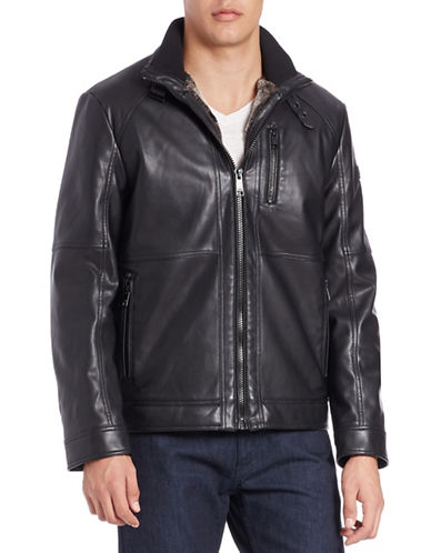 Karl Lagerfeld Faux Fur-Lined Bomber Jacket-BLACK-Small 88707032_BLACK_Small
