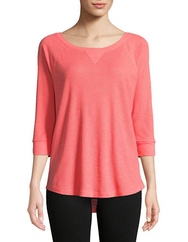 Calvin Klein Performance Waffle Knit Raglan Sleeve Top-RED-Large