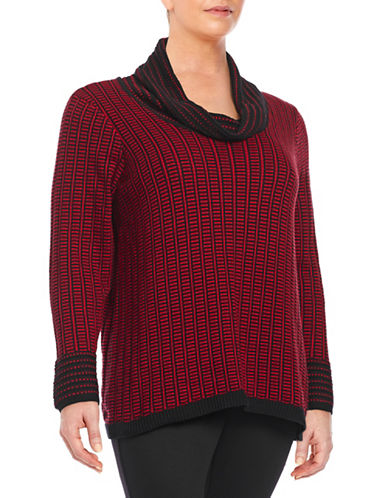 Calvin Klein Plus Cowl Neck Knit Sweater-RED-0X 88014727_RED_0X