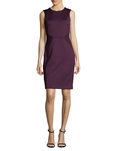 Calvin Klein Sleeveless Mesh Sheath Dress-PURPLE-14