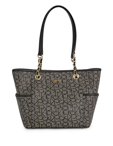 Calvin Klein Key Items Logo Tote-GREY-One Size