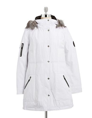 Calvin Klein The Coat Edit Faux Fur Trimmed Anorak-WHITE-X-Small plus size,  plus size fashion plus size appare