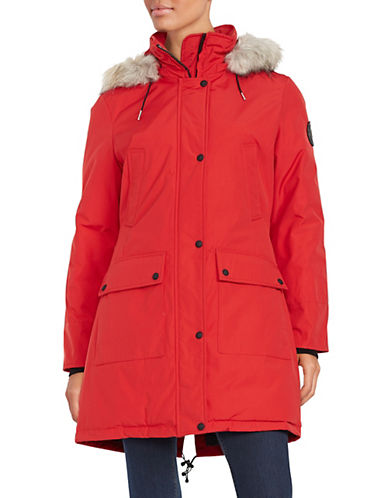 Calvin Klein The Coat Edit Faux Fur Trim Performance Parka-FIRE-X-Small 87892224_FIRE_X-Small