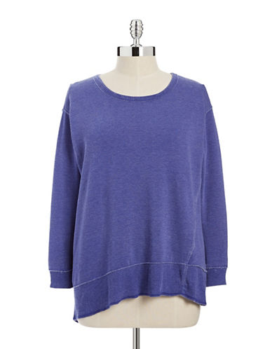 Calvin Klein Performance Plus Asymmetrical Hem Fleece Pullover-PURPLE-1X 88014820_PURPLE_1X