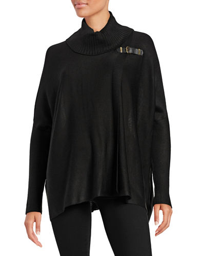 Calvin Klein Sweater Cape with Buckle-BLACK-Large/X-Large