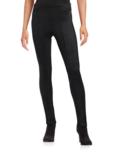 Calvin Klein Faux-Suede Power Stretch Leggings-BLACK-X-Small 87841917_BLACK_X-Small