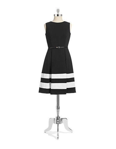Calvin Klein Striped Ponte Dress with Belt-BLACK-10