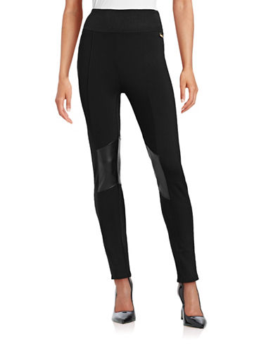 Calvin Klein Power Stretch Mixed Media Pants-BLACK-Large 87723421_BLACK_Large