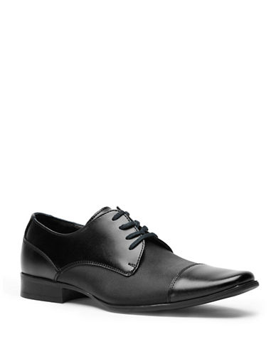 Calvin Klein Bram Leather Vamp Derby Shoes-BLACK-7.5