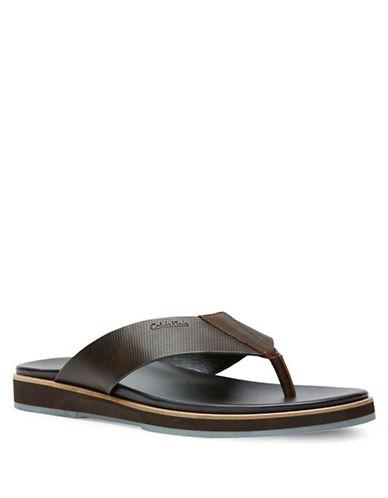 Calvin Klein Deano Textured Sandals-BROWN-7