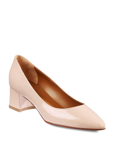 Aquatalia Phoebe Point-Toe Leather Pumps-BLUSH-8