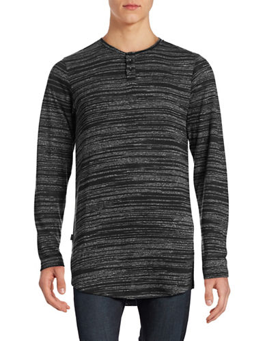Fairplay Striped-Knit Henley Top-BLACK-Large 88592870_BLACK_Large