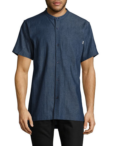 Fairplay Harshel Mandarin Collar Shirt-DARK BLUE-Small