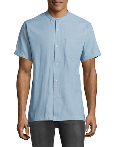 Fairplay Harshel Mandarin Collar Shirt-BLUE-Small