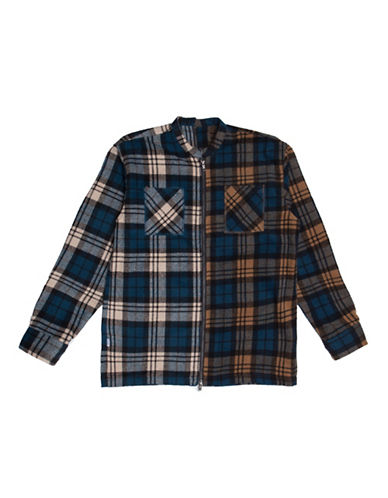 Fairplay Levon Zip Up Flannel Shirt-BLUE-Large