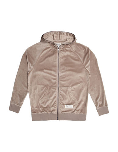 Fairplay Ramzee Velour Full Zip Raglan Jacket-BEIGE-Medium