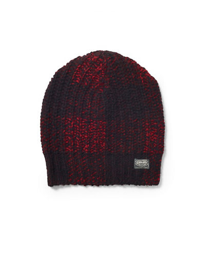Denim & Supply Ralph Lauren Rib-Knit Wool Hat-BLACK/RED-One Size