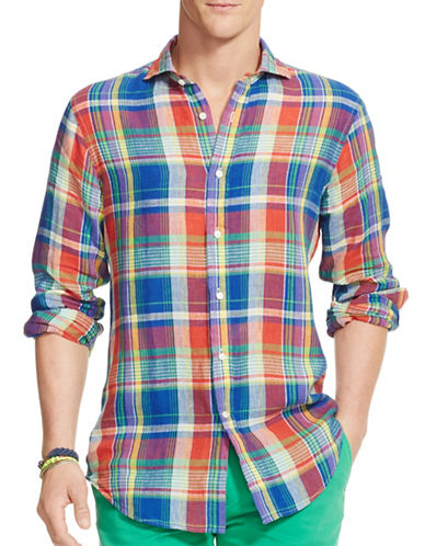 Polo Ralph Lauren Plaid Linen Shirt-ROYAL/RED-Large
