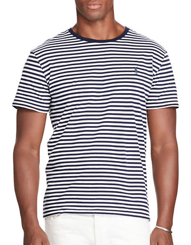 Polo Ralph Lauren Striped Jersey Crew Neck T-Shirt-NAVY-X-Large 88685501_NAVY_X-Large