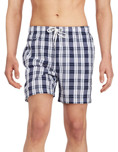 Black Brown 1826 Plaid Swim Shorts-BLUE-Large 89256934_BLUE_Large