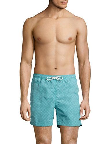 Black Brown 1826 Diamond-Print Swim Shorts-GREEN-Large