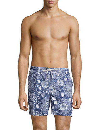Black Brown 1826 Floral Chambray Swim Volley Shorts-BLUE-X-Large